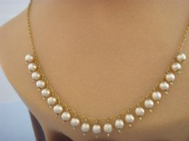 Edwardian style pearl drop necklace -  1950s faux pearl necklace